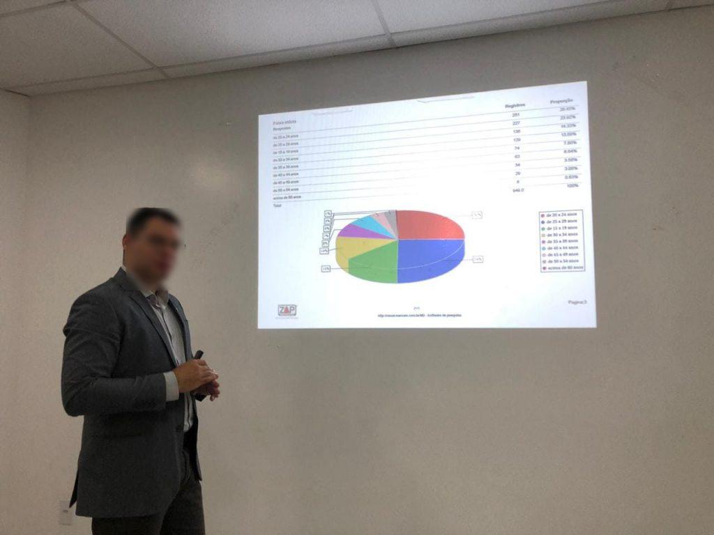 Gestor apresentando os resultados da Coleta da Pesquisa em Campo